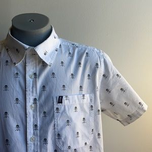 Skull Short Sleeve Button Down C1rca Size Large